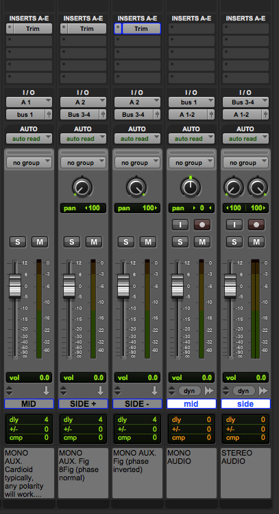 mono aux inputs bussed to audio tracks