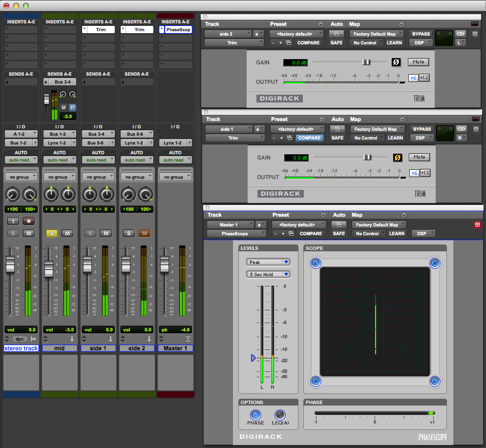 MS matrix applied to a stereo track - showing mono in-phase with mid soloed